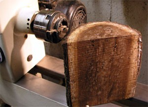 The Splintershop - Wood Art from the Lathe. A walnut blank is ready to mount on the lathe