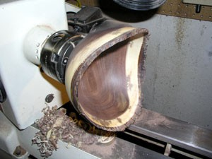 The Splintershop - Wood Art from the Lathe. A walnut natural edge bowl nearing completion.